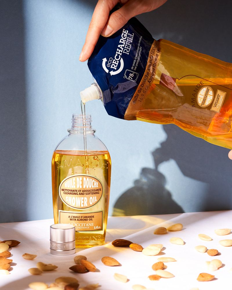 Almond with the Shower oil & Eco refill, Eco refills form one part of L'Occitane's recycling program © L'Occitane