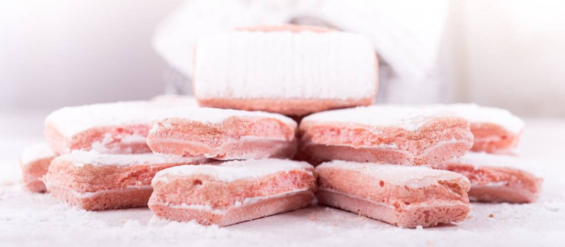 Reims pink biscuits, a speciality of Champagne