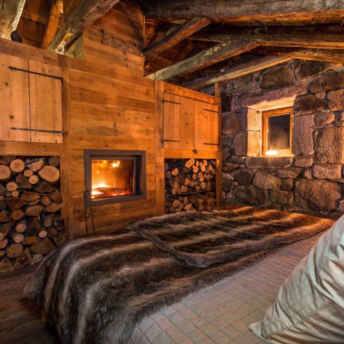 One of the two bedrooms at Buron de la Chambe, Auvergne