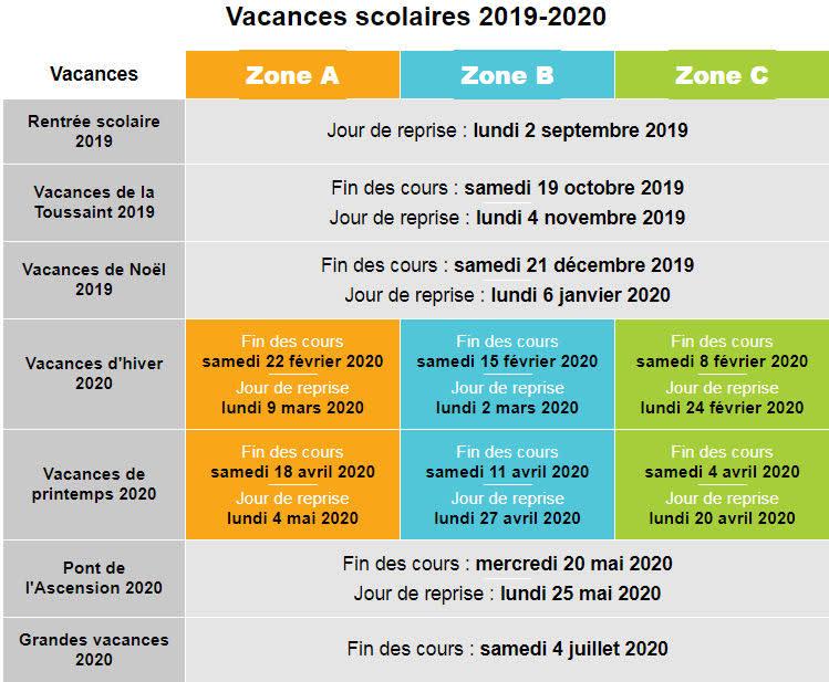 Calendrier Annee Scolaire 201918.Calendrier Des Vacances Scolaires 2018 2019
