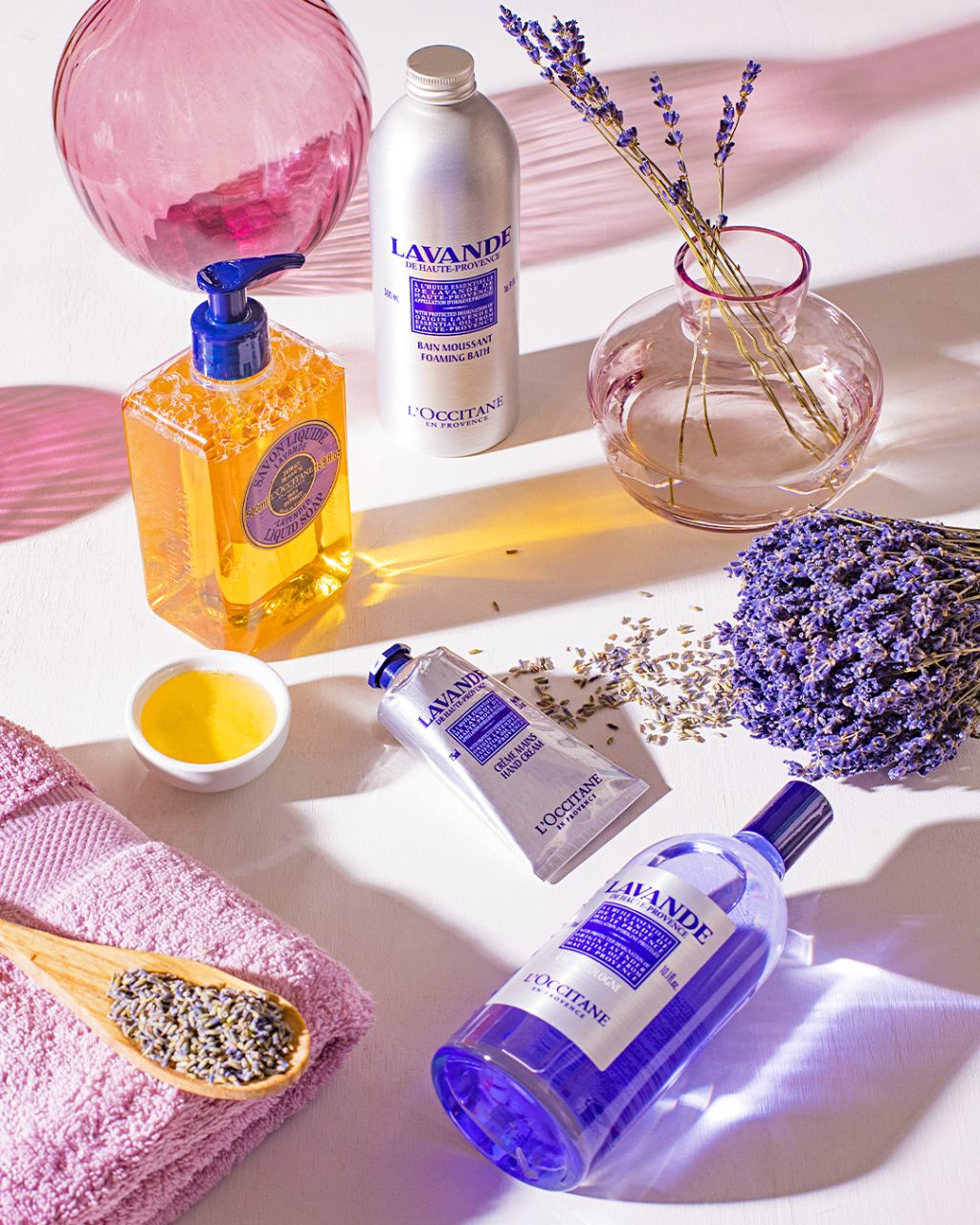 Lavender products of L'Occitane with Essential Oi, Hand Cream and Liquid Soap, with L'Occitane supporting research institutes to fight © L'Occitane