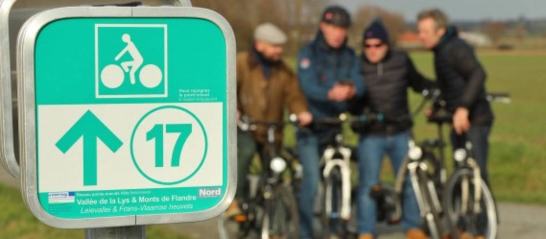 Sinds begin 2019 is het netwerk met fietsknooppunten uitgebreid naar Noord-Frankrijk.