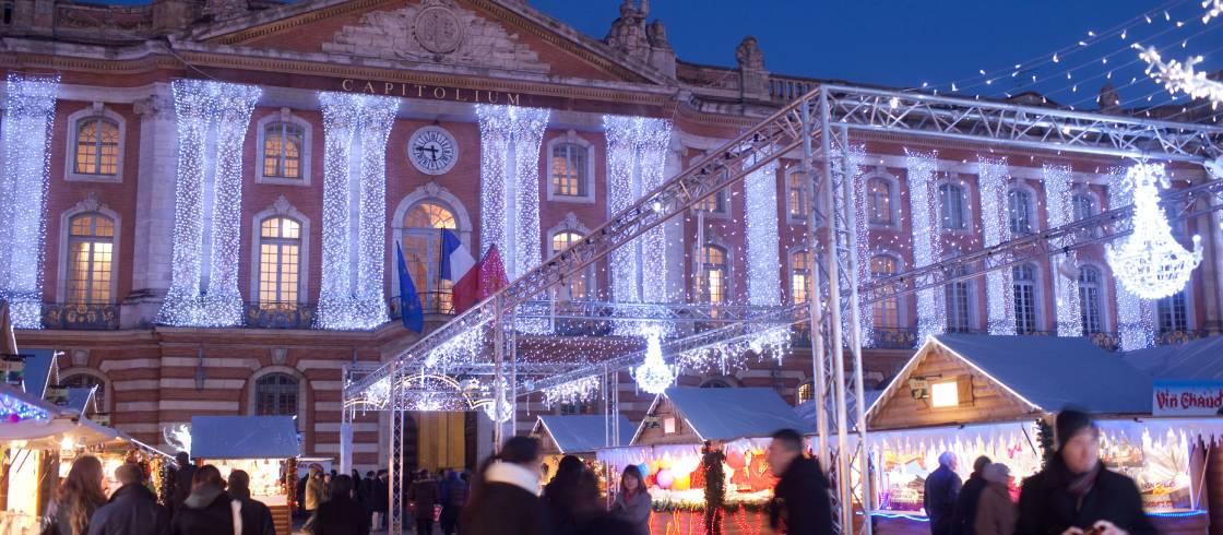Plaza Capitole durante la Navidad