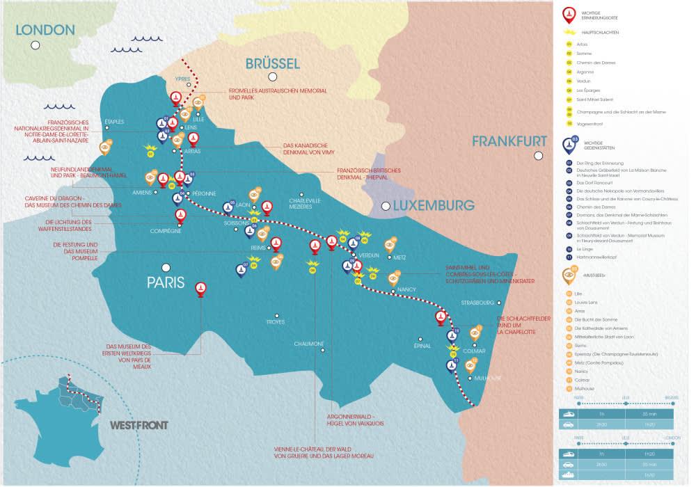 Karte der Westfront