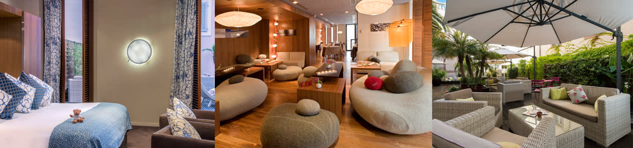 Doppelzimmer, Lounge und Innenhof des Hôtel Beau Rivage